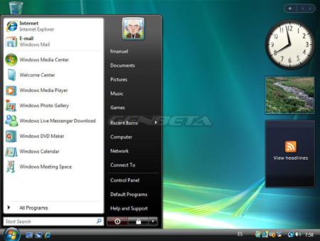 Menú de inicio de Windows Vista