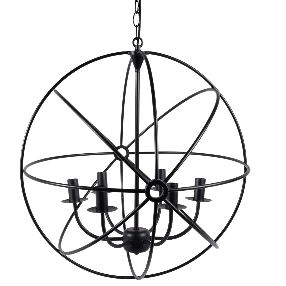 Network.- Lámpara de techo de esfera con 6 ramas de metal negro
