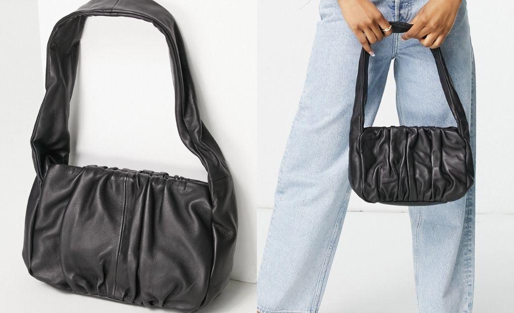 Bolso de hombro negro con diseño fruncido estilo años 90 de cuero de ASOS DESIGN
