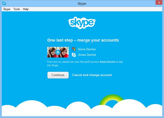 Skype con la Microsoft Account
