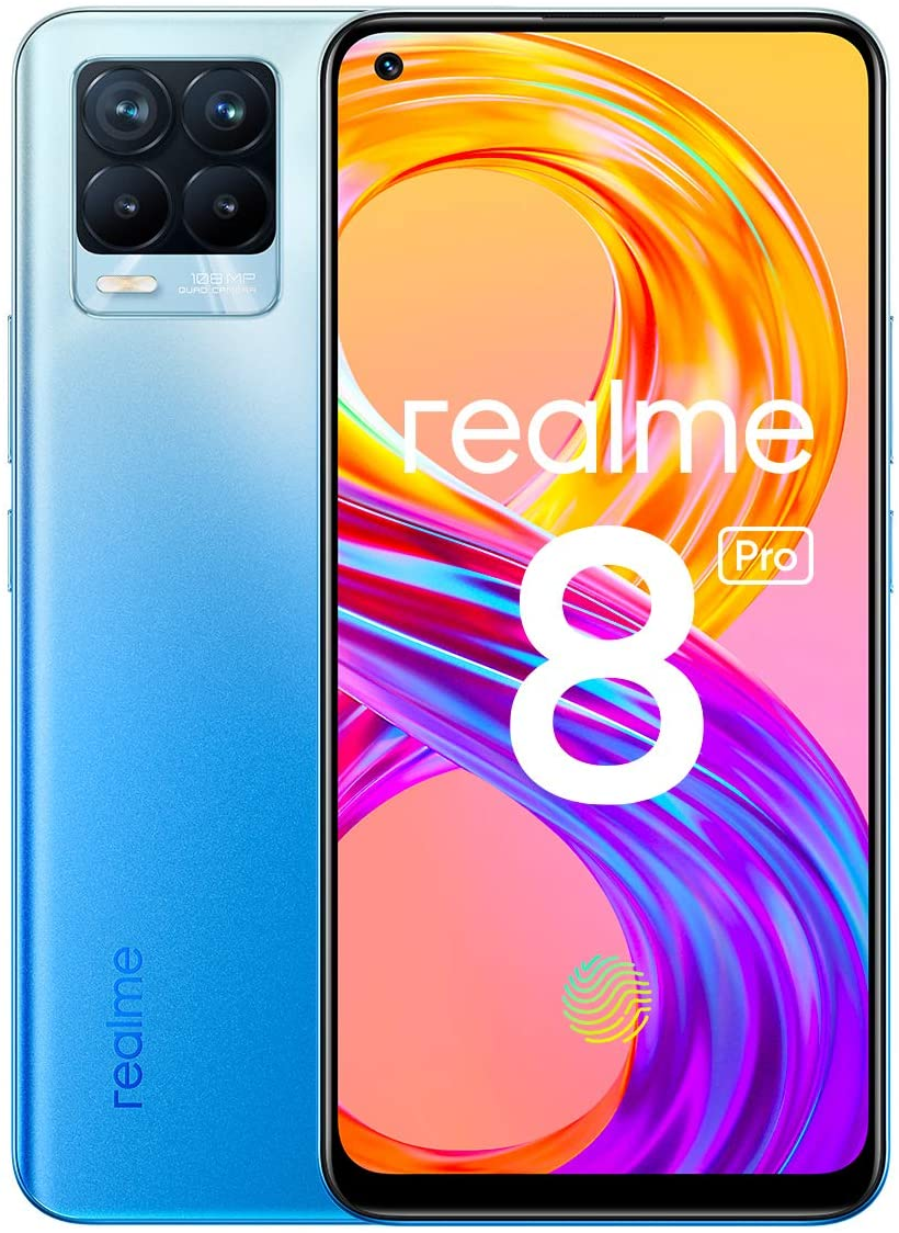 "realme 8 Pro Smartphone Libre, Cámara cuádruple Ultra de 108 MP, Pantalla completa AMOLED superior de 6,4"", Carga SuperDart de 50 W, Batería de 4500 mAh, Dual Sim, NFC, 6+128GB, Infinite Blue"