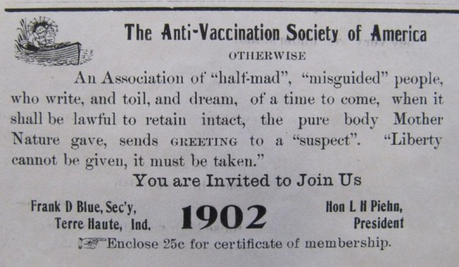 Anti Vaccination Society Of America Advertisement From 1902