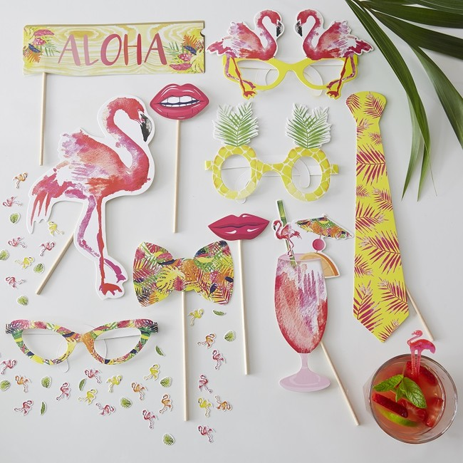 Summer Party Photo Booth Props Flamingo Fun