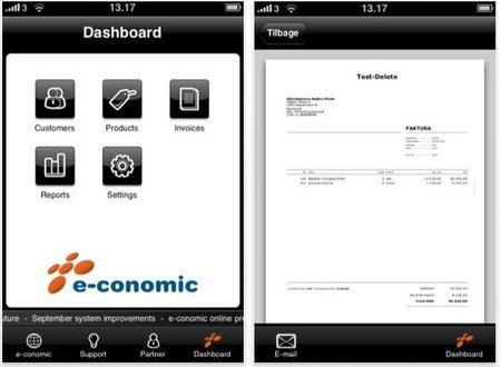 Aplicación para iOS de e-conomic, gestión online de la contabilidad