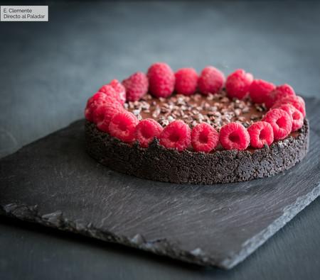 Tarta de ganache de chocolate y frambuesa