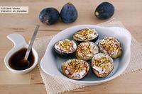 Higos al balsámico con queso de cabra y pistachos. Receta de aperitivo