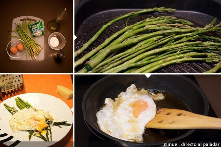 Espárragos con huevos rotos - elaboración