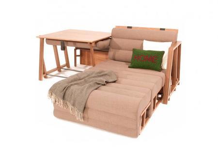 un mueble que se convierte en mesa sof y cama