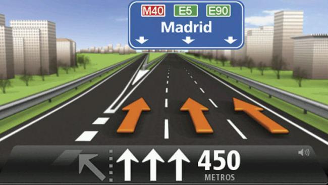 Asistente de carril en dispositivo GPS
