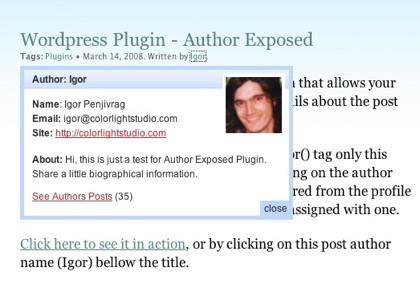 Author Exposed, plugin de WordPress que muestra información sobre cada autor