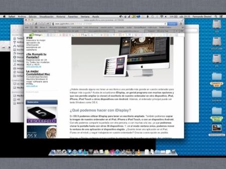 Así se ve la pantalla del MacBook Pro en el iPad de 2a generación, en modo Shared Main Display