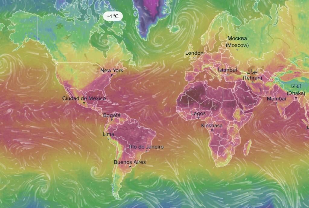 VentuSky, el precioso mapa interactivo que nos muestra en tiempo real las condiciones meteorológicas en el mundo