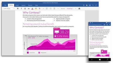 Ya disponibles las versiones táctiles de Word, Excel y PowerPoint en Windows 10 Technical Preview