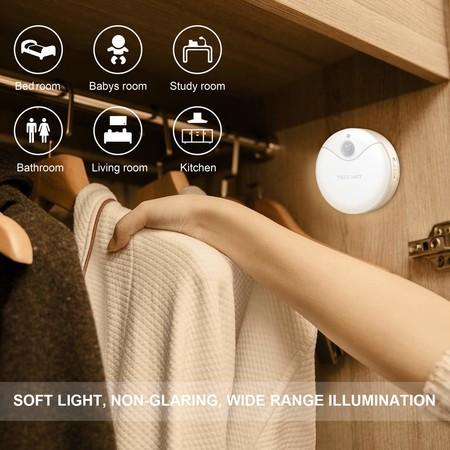 Luz nocturna LED TeckNet Luz LED para escalones con sensor de movimiento y Sensor de luz integrado,
