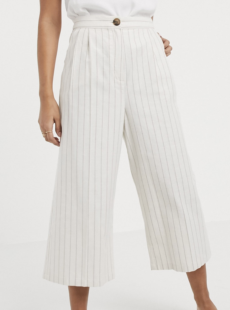 Pantalones culotte de lino a rayas de ASOS DESIGN