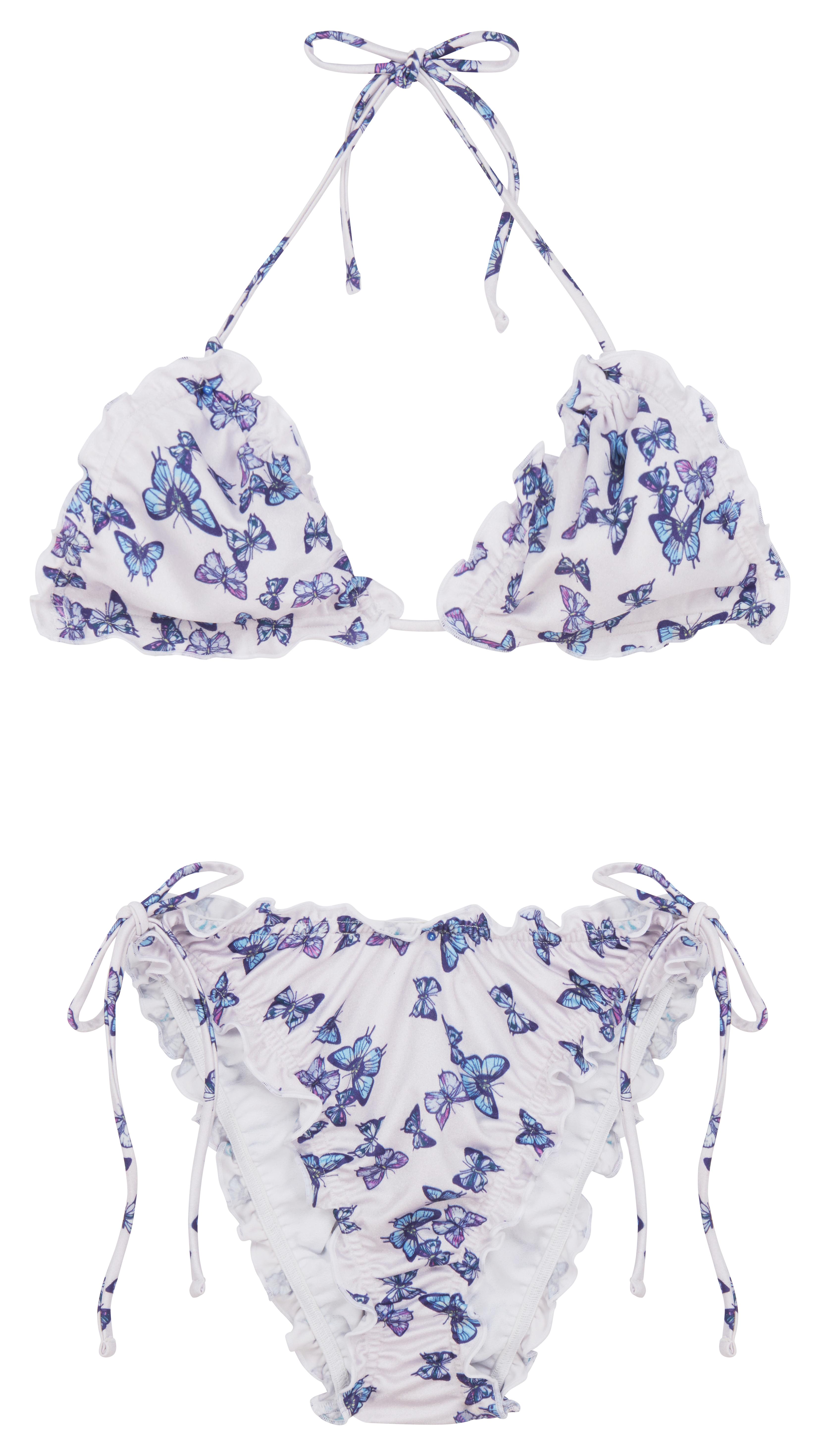 Bikini con estampado de mariposas y bordes acampanados