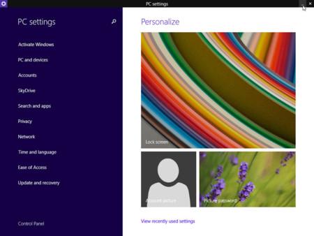 Ejemplo de la barra superior en aplicaciones Modern UI