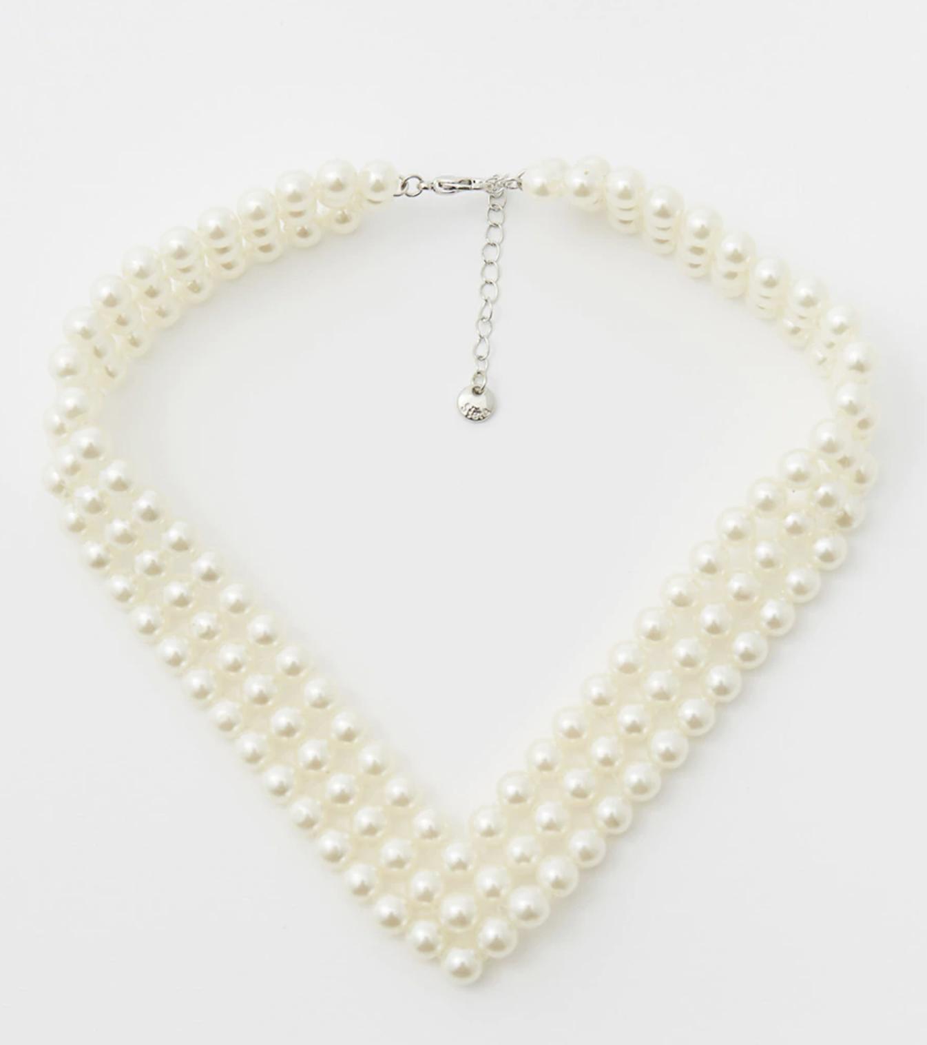 Choker de mujer triple perla