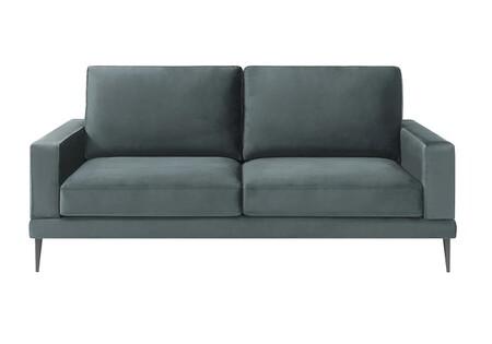Sofá tapizado en terciopelo de 3 plazas con patas metálica