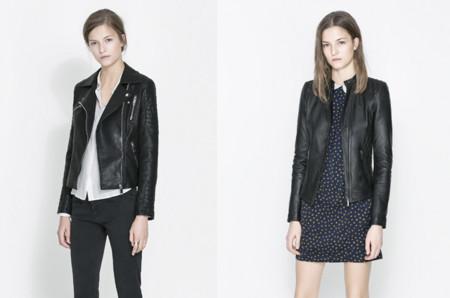 Claves de moda para ir de shopping cazadora de cuero negro Zara