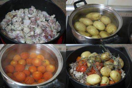 Receta de muslos de pollo guisados con patatas y tomate. Pasos