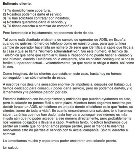 E-mail enviado por Pepephone Fuente: ADSLZone