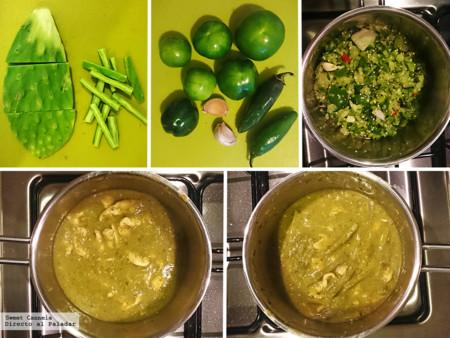 Pollo salsa piernas y verde en muslos