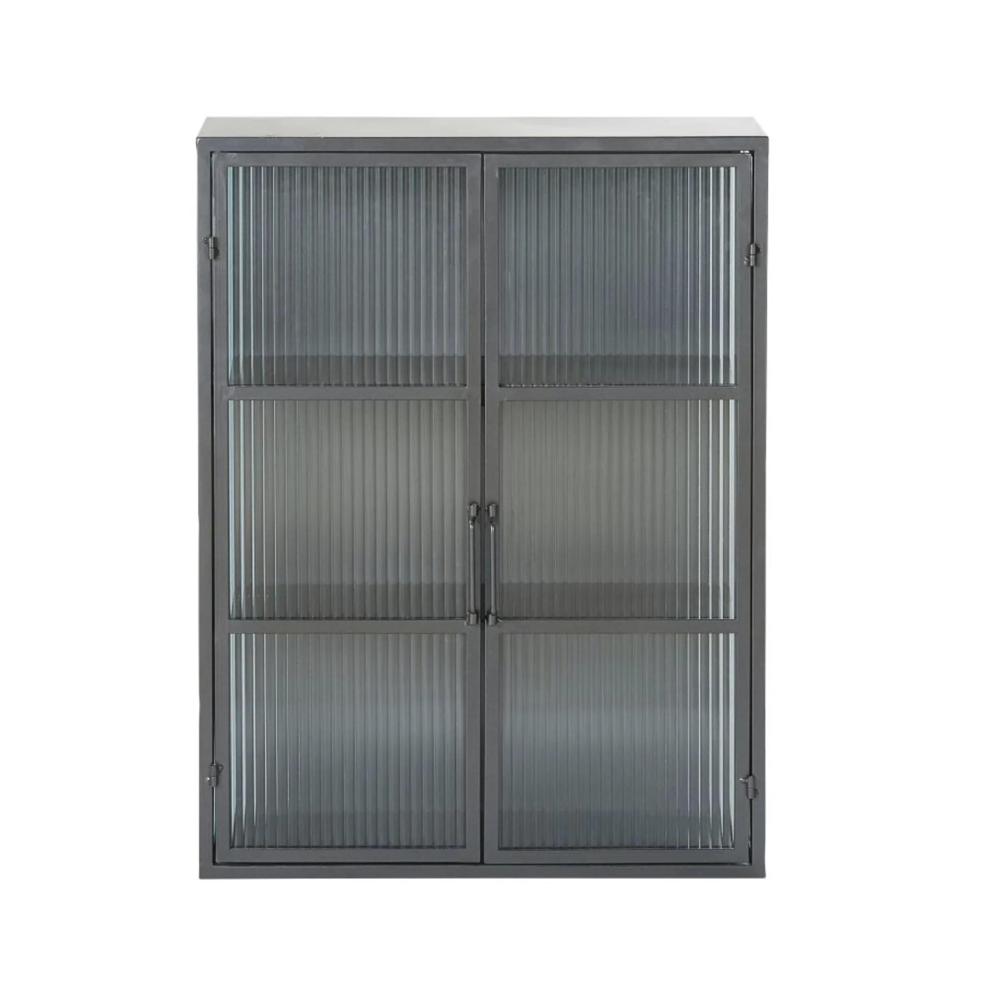 CARTER .- Estantería de metal negro con 2 puertas de vidrio armado