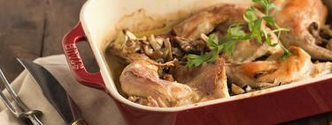Conejo asado con setas variadas, receta para aprovechar las setas de otoño