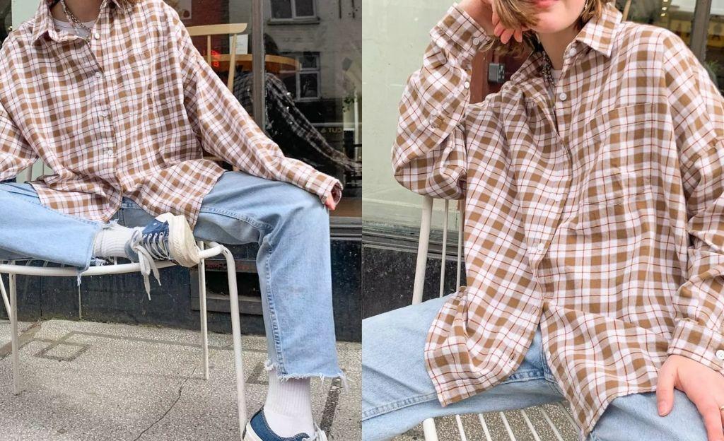 Camisa extragrande de cuadros de COLLUSION
