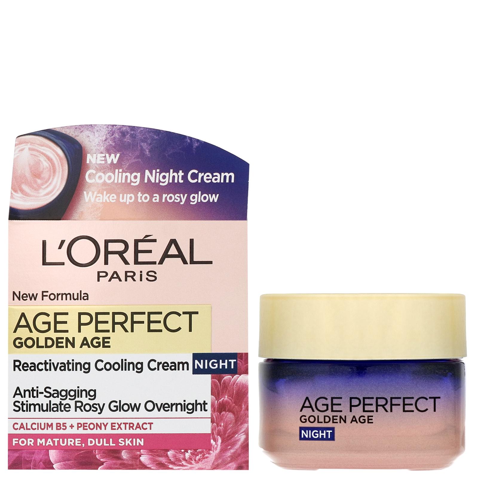 L'Oréal Paris Age Perfect Golden Age Crema de Noche Fortificante, Antiflacidez y Luminosidad, Pieles Maduras