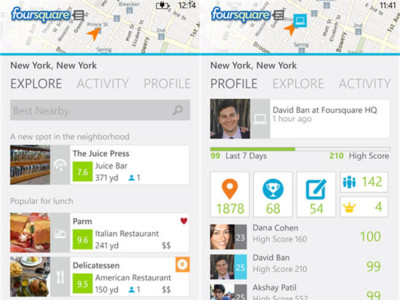Foursquare se actualiza para Windows Phone 8 y mima a los Lumia