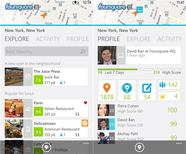 Foursquare para Windows Phone 8