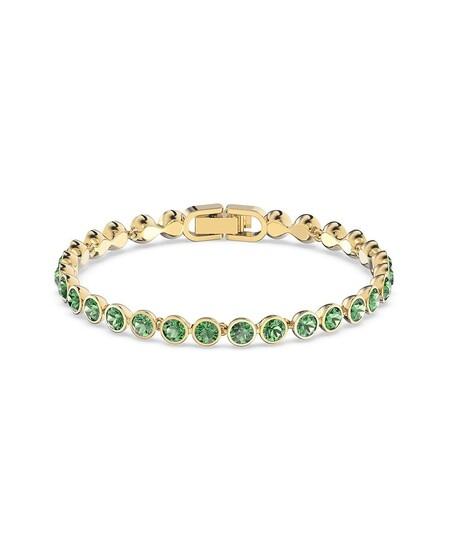 Pulsera Swarovski Dorada Con Cristales En Verde