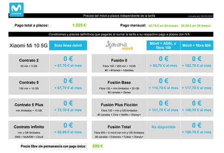 Precios Xiaomi Mi 10 5g A Plazos Con Tarifas Movistar