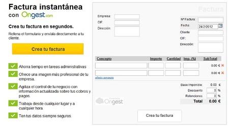 Ongest, interesante solución de facturación y contabilidad online