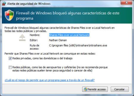NitroShare, alerta firewall Windows