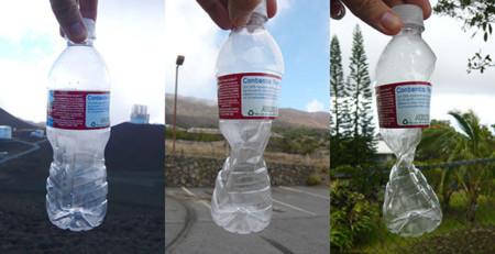 Cambios en una botella de plástico por altitud