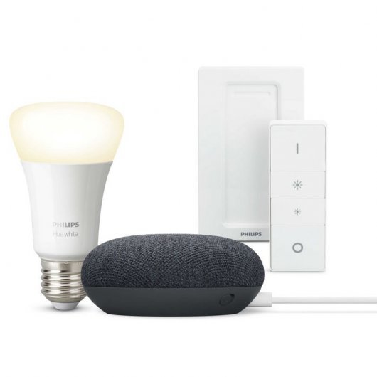 Pack Google Nest Mini Altavoz Inteligente + Philips Hue White Bombilla E27 9W Blanco Cálido + Mando