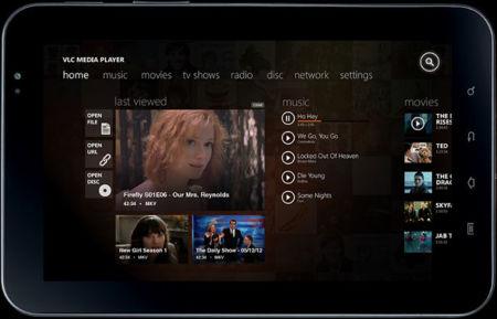 VLC para Windows 8 con interfaz Modern UI, tableta