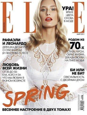 Labios naranjas en la propuesta de Elle Rusia del mes de marzo