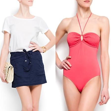 minifalda y bañador rojo