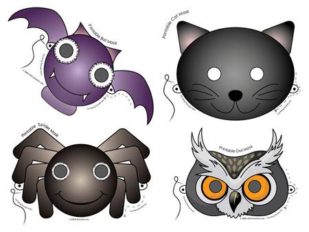 Máscaras de animales de Halloween para imprimir