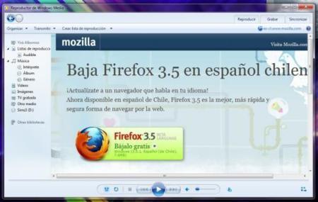 Bajando Firefox a traves de Windows Media Player
