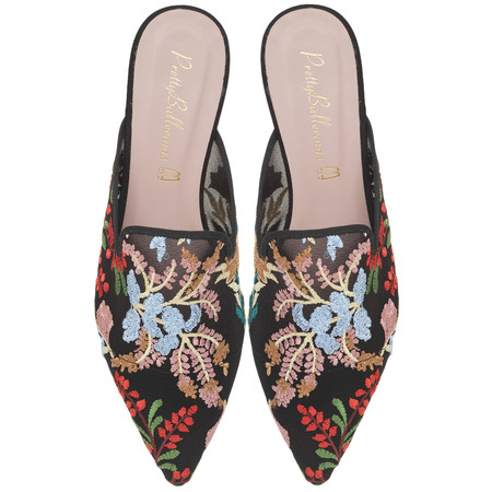 Ella Flower Embroidered Mesh Slide Pair