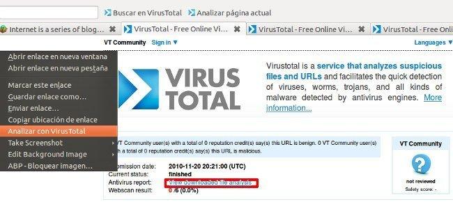 Análisis de URL con extensiones de VirusTotal para Firefox y Chrome
