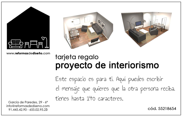Tarjeta regalo proyecto interiorismo