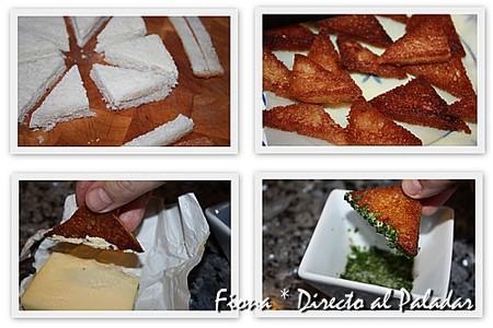 Preparación del pan frito con perejil