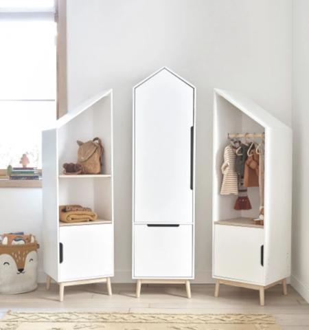 Libreria Casa Infantil Blanca Modulable A La Derecha Con 1 Puerta