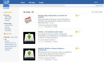 Genwi, red social y agregador de suscripciones en una misma aplicación web
